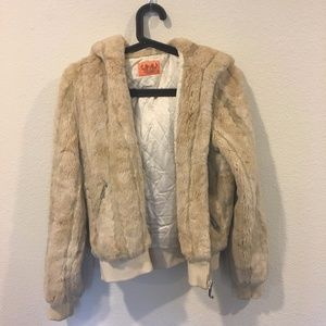 Juicy Couture tan faux fur zip up hoodie