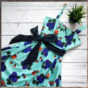 Anthropologie Maeve Floral Bow Dress, turquoise, 6
