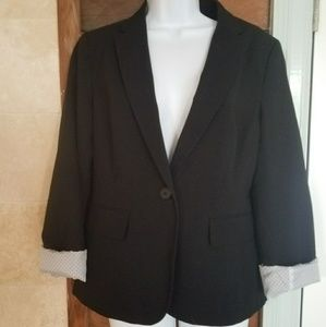 Loft one button black blazer with roll up sleeves