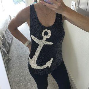 J-Crew sequin anchor ⚓️ top