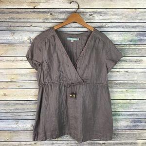 Boden Taupe Brown Linen Blouse