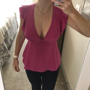 Plunging silk pink dressy BCBG top