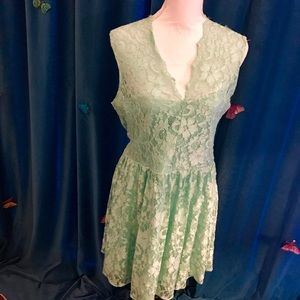 ASOS Mint Green Floral Lace Sleeveless Dress US 12