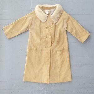Vintage Suede Coat, Fur Collar