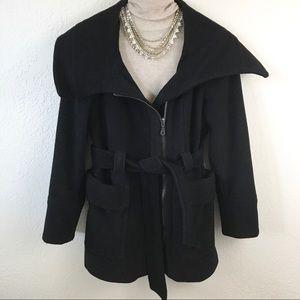 Zara Wool Black Zip-up Belted Waist Pea Coat