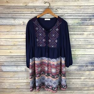 Entro Navy Embroidered Boho Printed Peasant Dress