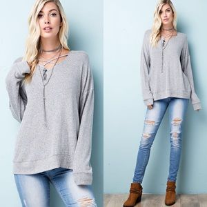 Tops - Long Sleeve V-Neck Front Criss Cross