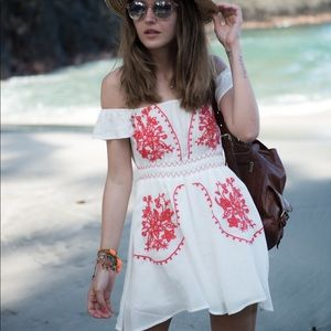 ASOS White Embroidered Off The Shoulder Dress