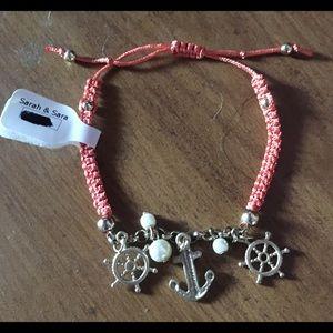Orange nautical charm bracelet