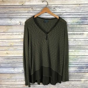 Left of Center Anthropologie Olive Green Sweater