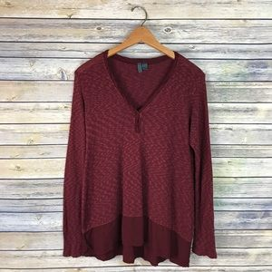 Left of Center Anthropologie Maroon Sweater