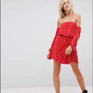 ASOS Bardot Long Sleeve Skater Dress in Polka Dot