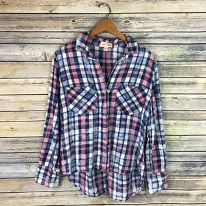 Cloth & Stone Anthropologie Blue Pink Plaid Shirt