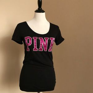 VS PINK Satin Pink Letter Black SL Top Size Small