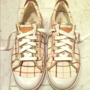Coach Gold and Striped Sneakers