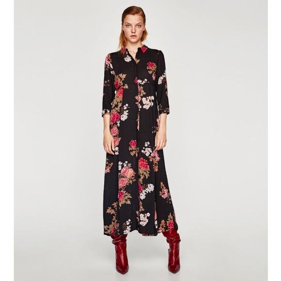 3724146e7e3 Zara long floral print dress XS sold out BNWOT