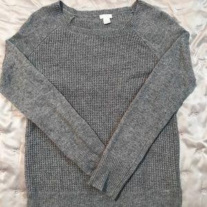 Gray merino wool J. Crew waffle sweater XS