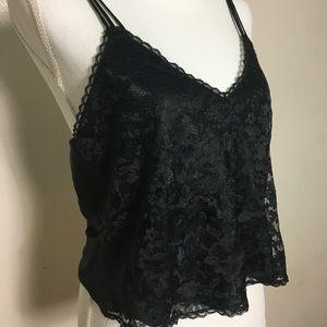 Victoria's Secret Black Lace Cropped Camisole