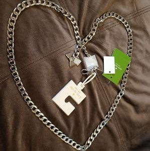 NWT Kate Spade silver chain with hanging bow M/L