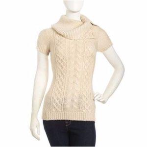 BCBG MAX AZRIA Corozo Beige S/S Cable Knit Sweater