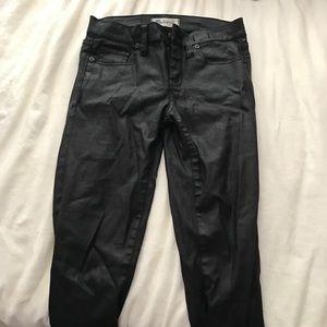 Black wax coated skinny jeans