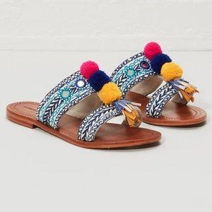 Anthropologies Anti Batik Pom Pom sandals FIRM