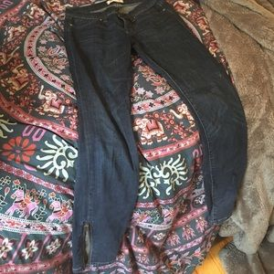 High waisted Madewell skinny jeans, zipper ankles