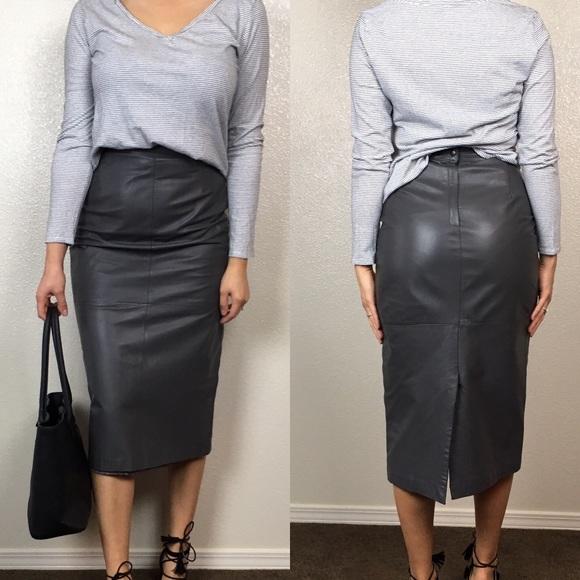 new lifestyle los angeles elegant shape Vintage Midi Leather Skirt
