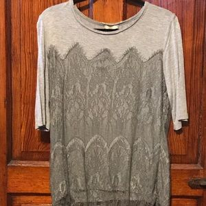 Anthropolgie Grey Lace Overlay T Shirt Large EUC!