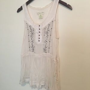 Urban Outfitters cream sheer tank, size M