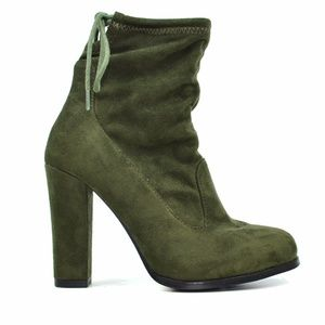 Chase & Chloe Olive Suede Block Heel Ankle Bootie