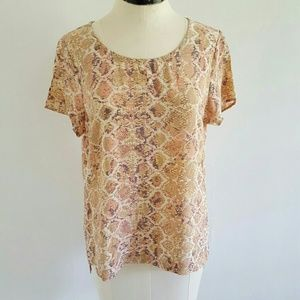 ANTHRO {FYNN AND ROSE} silk blush python blouse