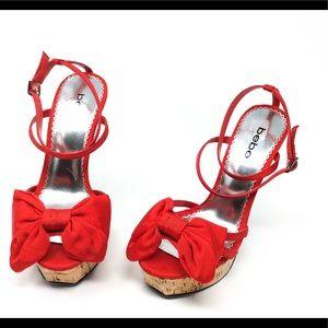 Bebe Kali High Heel Stiletto Cork Platform Sandal