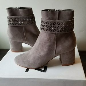 Schutz Cara grey suede booties