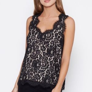 Joie black lace cina sleeveless top XS