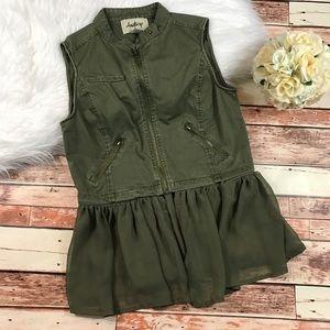 Daytrip olive green zipper front denim vest