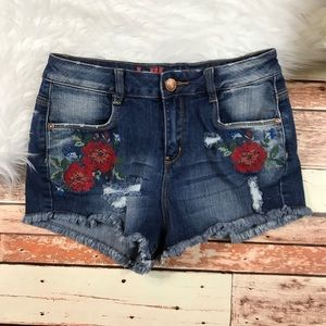 * Cute Embroidered midrise Jean Shorts