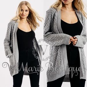 Grey Knitted Oversized Cardigan
