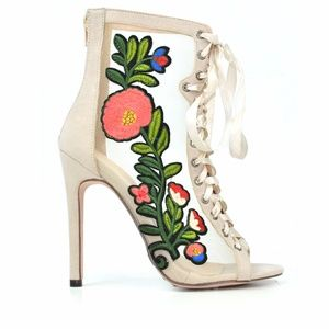 Chase & Chloe Nude Floral Heeled Sandal Bootie