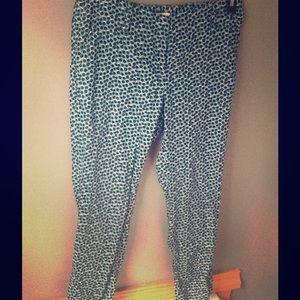 Loft teal leopard print crop trousers