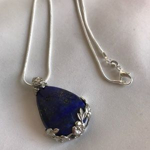 .925 Silver Chain with Blue & Gold Lapis Pendant