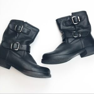 Aldo Black Leather Buckle Booties.