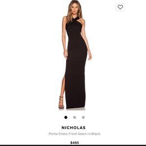 NICHOLAS Ponte Cross Front Gown in Black