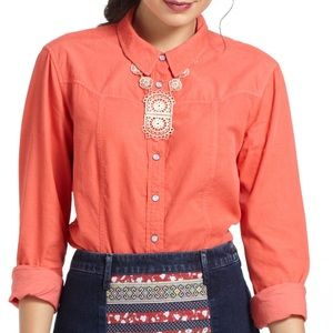 Anthropologie Holding Horses Coral Long Sleeve Top