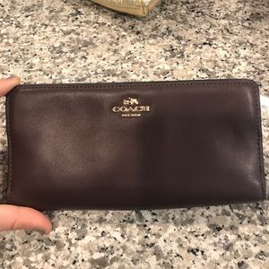 Coach dark plum leather wallet