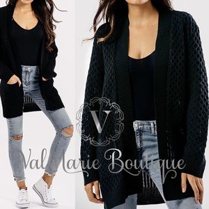 Black Knitted Sweater Cardigan