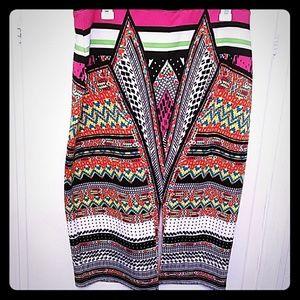 Bisou Bisou Multi Colored Pencil Skirt