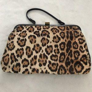 Vintage Animal Hair Cheetah Snap Clutch Bag