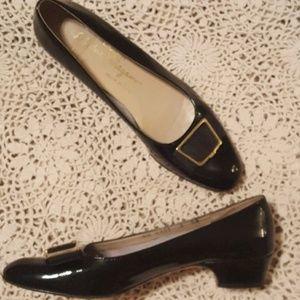 Ferragamo Black Patent Leather Heels EUC