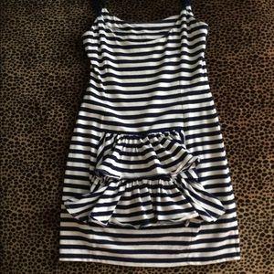 Betsey Johnson Striped Ruffle Back Dress
